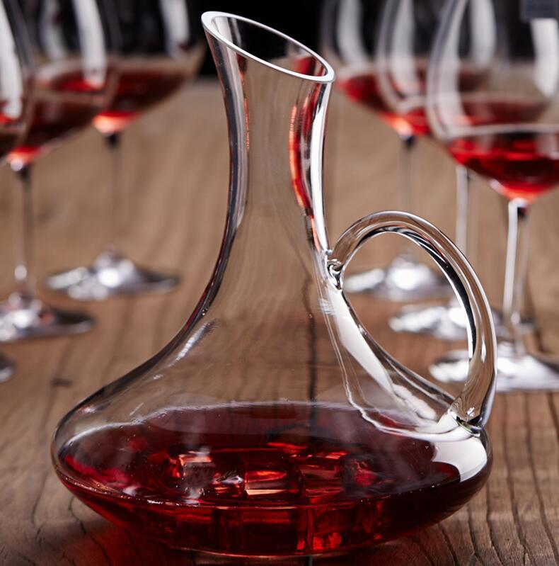 水晶玻璃带把斜口快速红白酒葡萄酒醒酒器分酒壶红酒瓶家用包邮