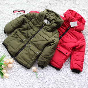 Foreign trade fall and winter fashion new Korean children baby boy thick padded cotton jacket and long sections coat