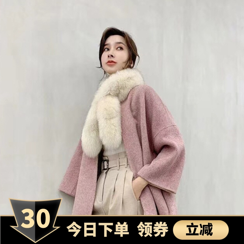 New Korean fox wool scarf double cross real fur straw collar fur collar childrens autumn and winter thickening and warmth