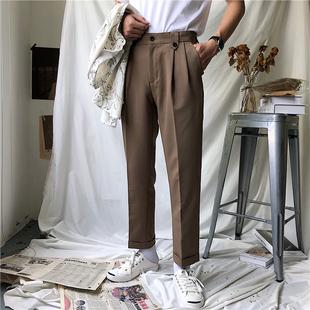 本期推薦 韓版復古小紐扣設計 2色小直筒寬松休閑長褲西褲男士 潮