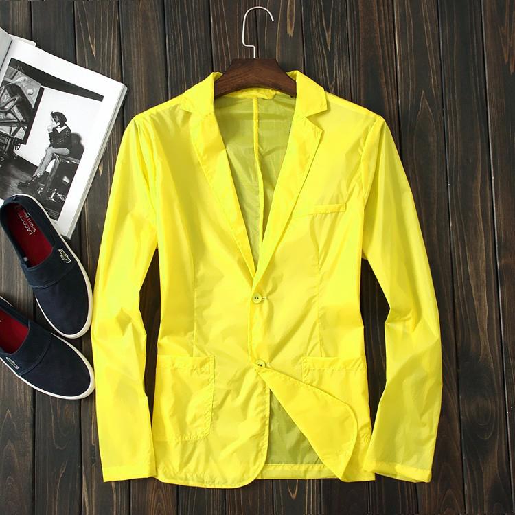 11-04新券夏季西装领防晒衣潮男黄色款空调衫