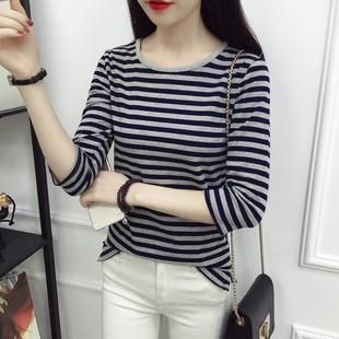 春秋季韩板纯棉黑白条纹长袖t恤女上衣大码修身百搭七分袖打底衫