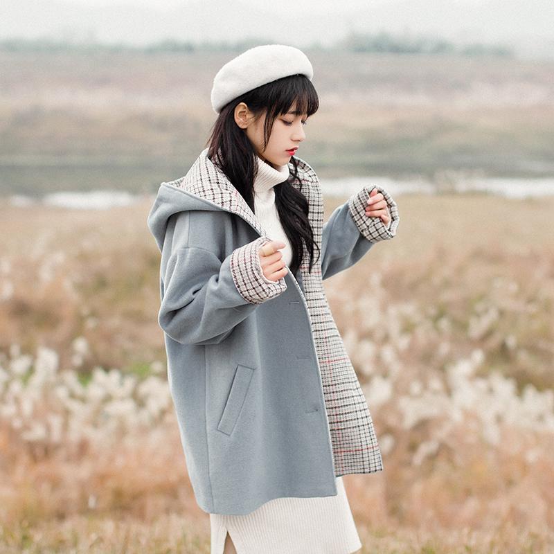 秋冬森女小个子日系港风文艺甜美chic连帽毛呢大衣中长款学生外套