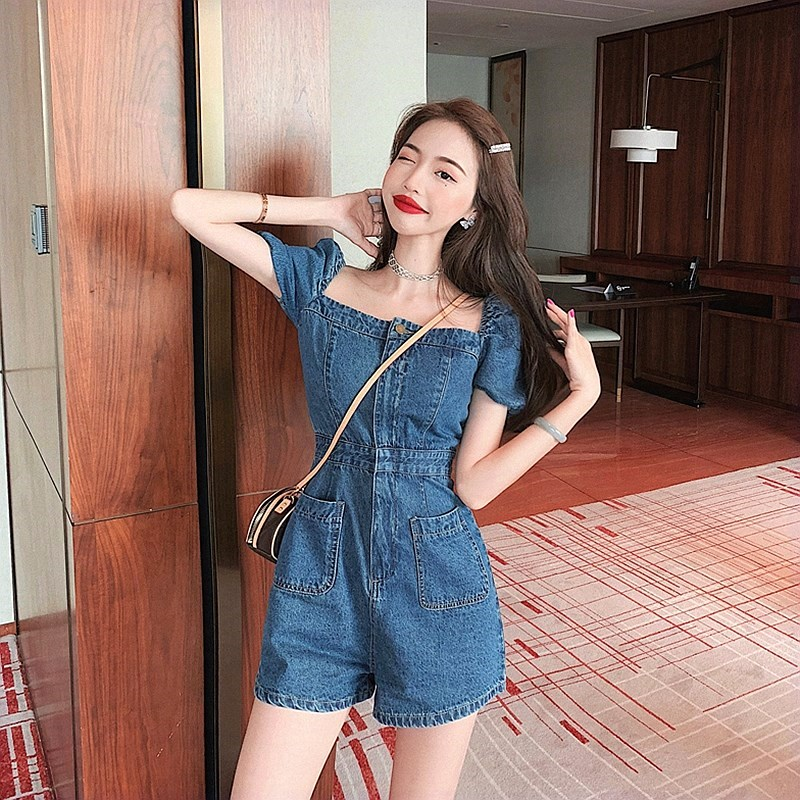 Square neck Jumpsuit shorts 2020 belly covering Jumpsuit blue mesh Red Jumpsuit casual off shoulder short sleeve strap