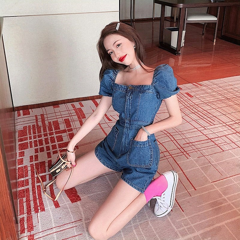Short sleeve one-piece square collar Jumpsuit shorts T-shirt thin ins new top girl student wide leg small fresh Jumpsuit