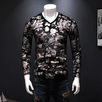 2018秋冬新款男士钻石绒印花长袖打底衫T恤18378-P75