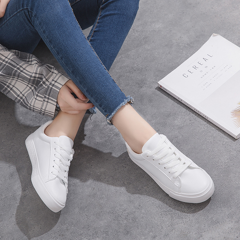 Beier new canvas shoes womens Korean super fiber casual small white shoes embroidered flat heel students sports board shoes low top