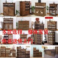 查看田园复古收纳斗柜客厅柜藤编框抽屉柜实木储物床头柜多抽屉斗柜价格