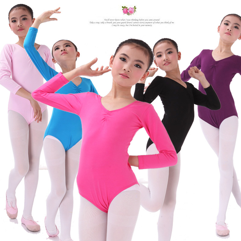 Childrens dance clothes cotton girls gymnastic one-piece skirt childrens long sleeve grading test clothes ballet dance practice clothes