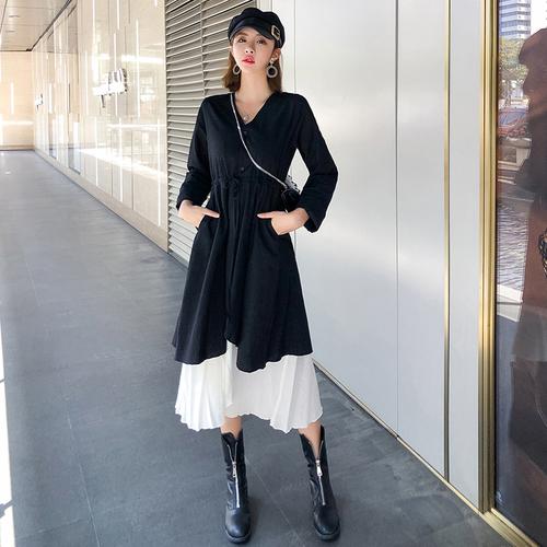正品保证法式复古及踝脚踝超长显瘦显高长裙