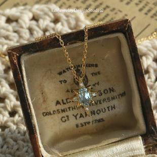 人海星芒 薾曼轻奢复古蓝托帕石项链银镀金宝石简约锁骨链礼物