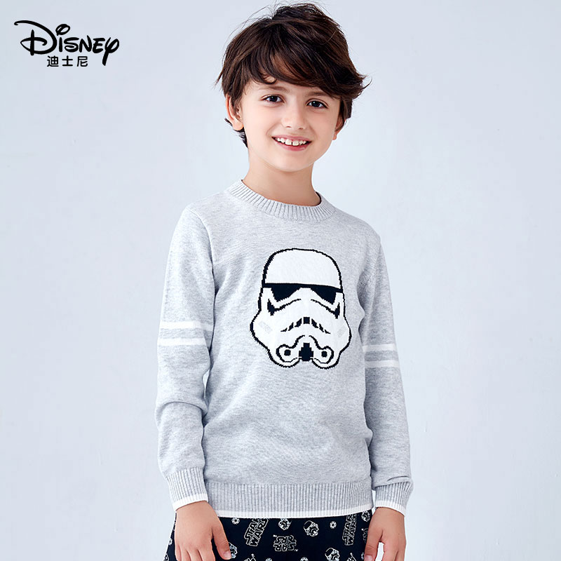 Disney Star Wars Boys sweater childrens cotton crew neck Pullover T-shirt printed letter bottomed sweater