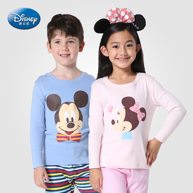 迪士尼 春秋 男童女童幼童純棉圓領長袖內衣秋衣套舒適家居服
