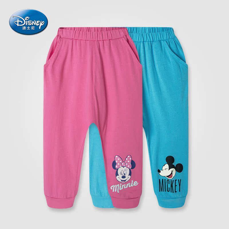 迪士尼 男童女童兒童純棉中褲七分褲打底褲 卡通 褲夏款薄