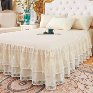 公主床裙式单件蕾丝花边欧式床罩