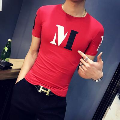 2018夏季新款绅士英伦硬汉休闲男士修身M印花打底<em>短袖</em>T恤818-P35