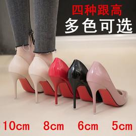 欧美职业单鞋春秋新款职场女鞋性感尖头细跟高跟特大码44 46 48