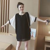 夏装胖mm心机上衣最爱大码女装遮肚子T恤200斤短袖雪纺衫连衣裙