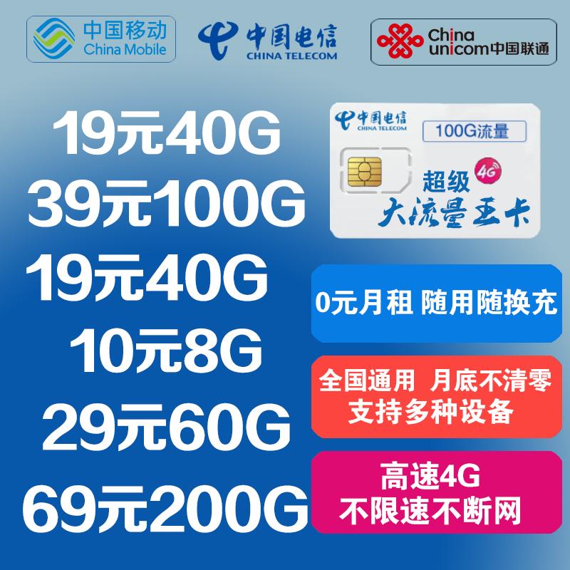 移动电信无限纯流量上网卡4g全国通用联通大王套餐手机卡随身wifi