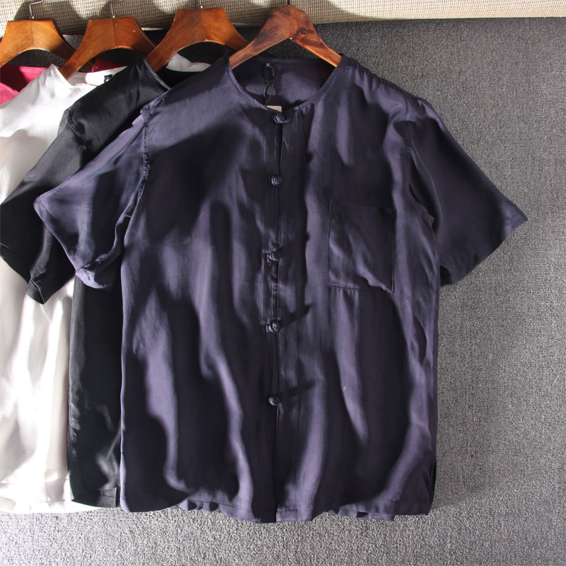 New silk Tang short sleeve mens shirt middle-aged and old age polyurethane plus fat half sleeve loose mulberry silk shirt