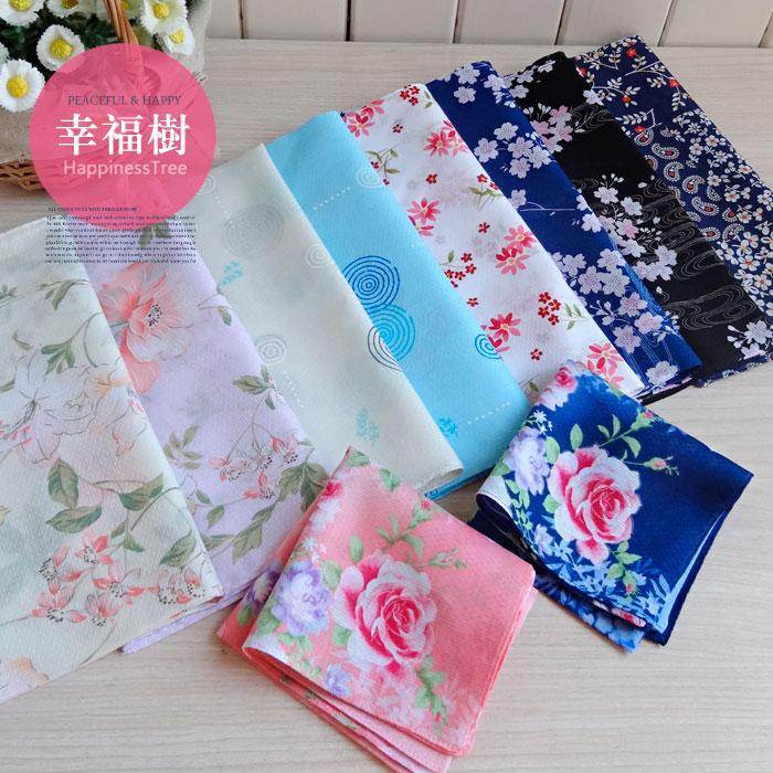 3条起包邮!日本貌美全棉女士手帕纯棉薄手绢和风花朵集柔软擦汗巾