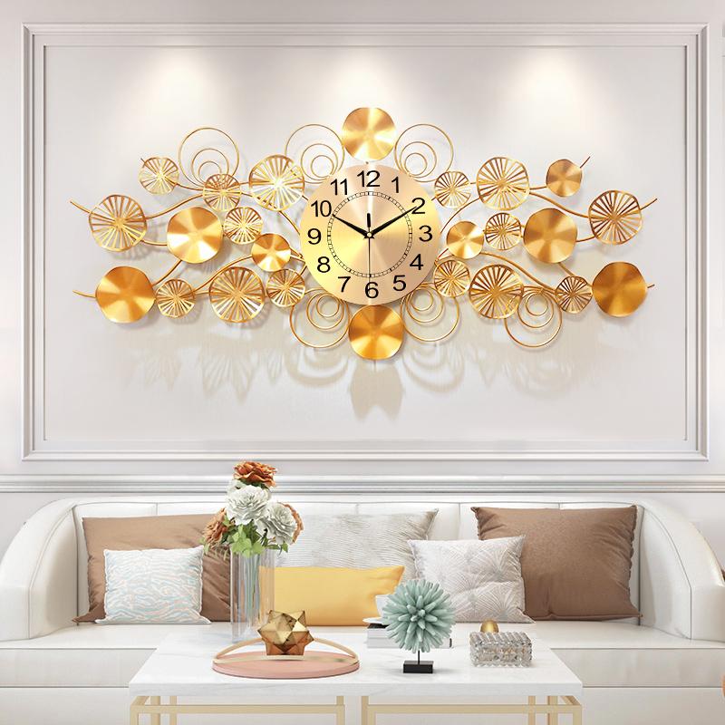 钟表挂钟家用客厅欧式轻奢创意大气北欧铁艺电视背景墙面装饰挂件