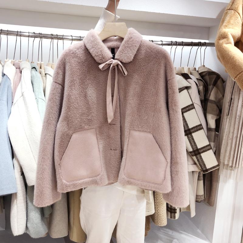 学生小外套女装短款2018新款仿水貂绒羊羔毛秋冬季外衣服皮毛一体