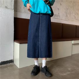 2020春秋新款韩版高腰牛仔半身裙女胖mm大码中长款百搭显瘦A字裙图片