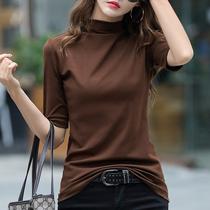 秋装2019年新款女装中袖半高领打底衫女宽松咖色内搭洋气T恤上衣