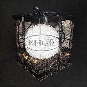 萨达正品反光篮球夜光发光荧光抖音同款限量版蓝球七夕情人节礼物