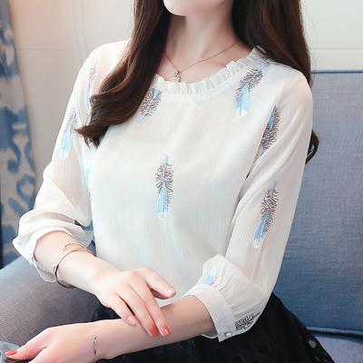 2020夏季新款韩版女装七分袖宽松显瘦百搭遮肚子雪纺衫很仙的上衣