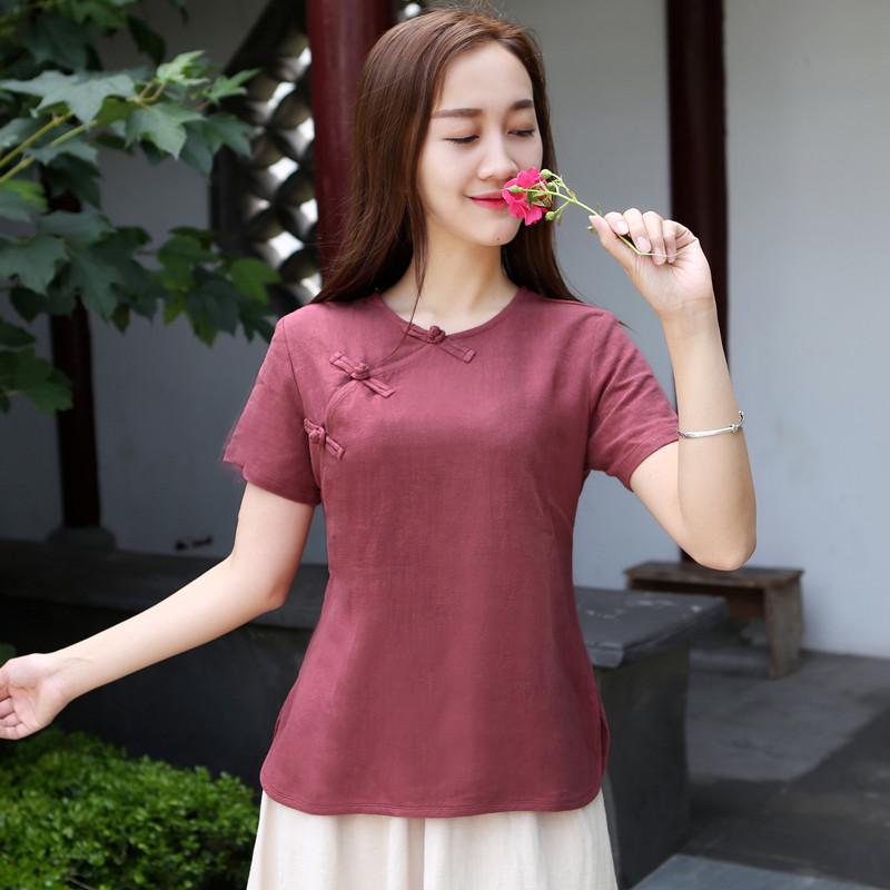中国风夏棉麻短袖衬衫女复古t恤改良旗袍上衣斜襟盘扣茶人服中式