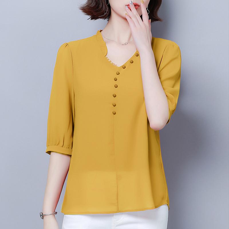 短袖T恤女裝上衣夏季2019新款雪紡半袖修身百搭小V領純色打底衫潮
