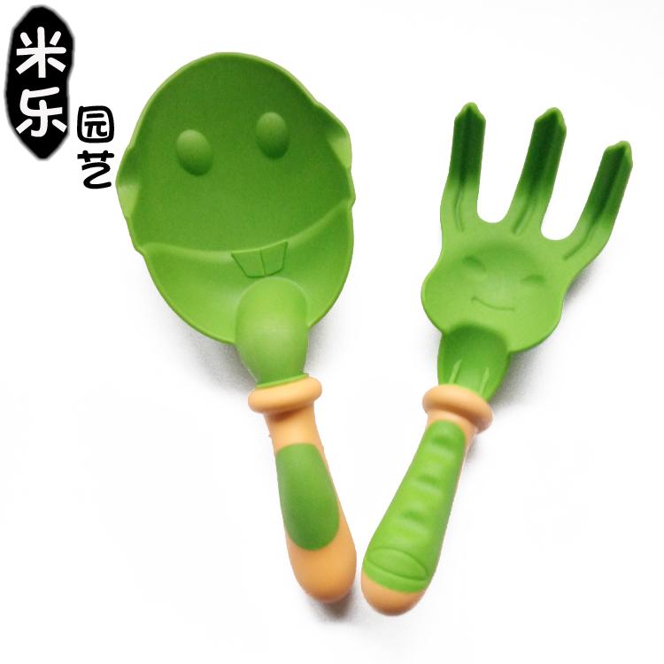 卡通塑料两件套花园工具儿童玩沙工具园艺用品卡通大铲儿童三爪