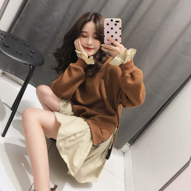 韩版冬季加厚假两件套卫衣女暖暖的荷叶边拼接宽松chic连衣裙