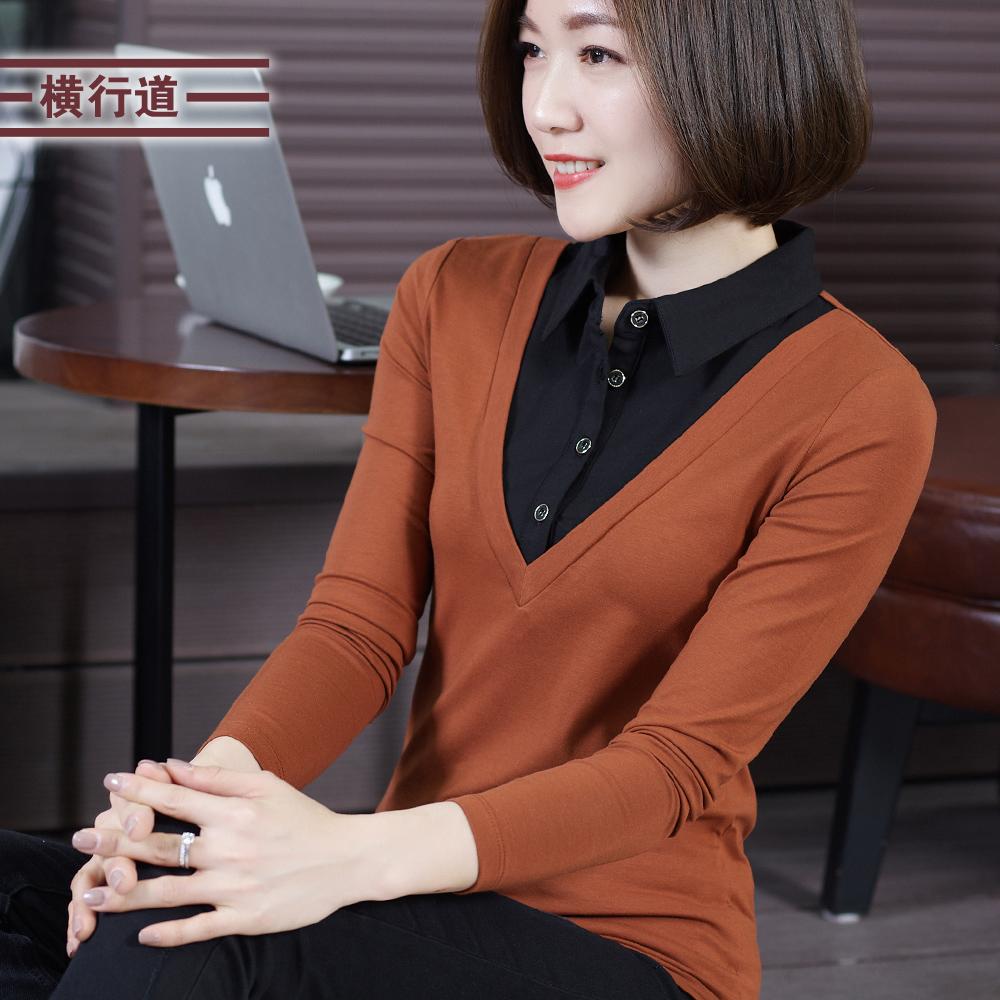 韩版黑色衬衫领洋气假两件打底衫热销226件买三送一