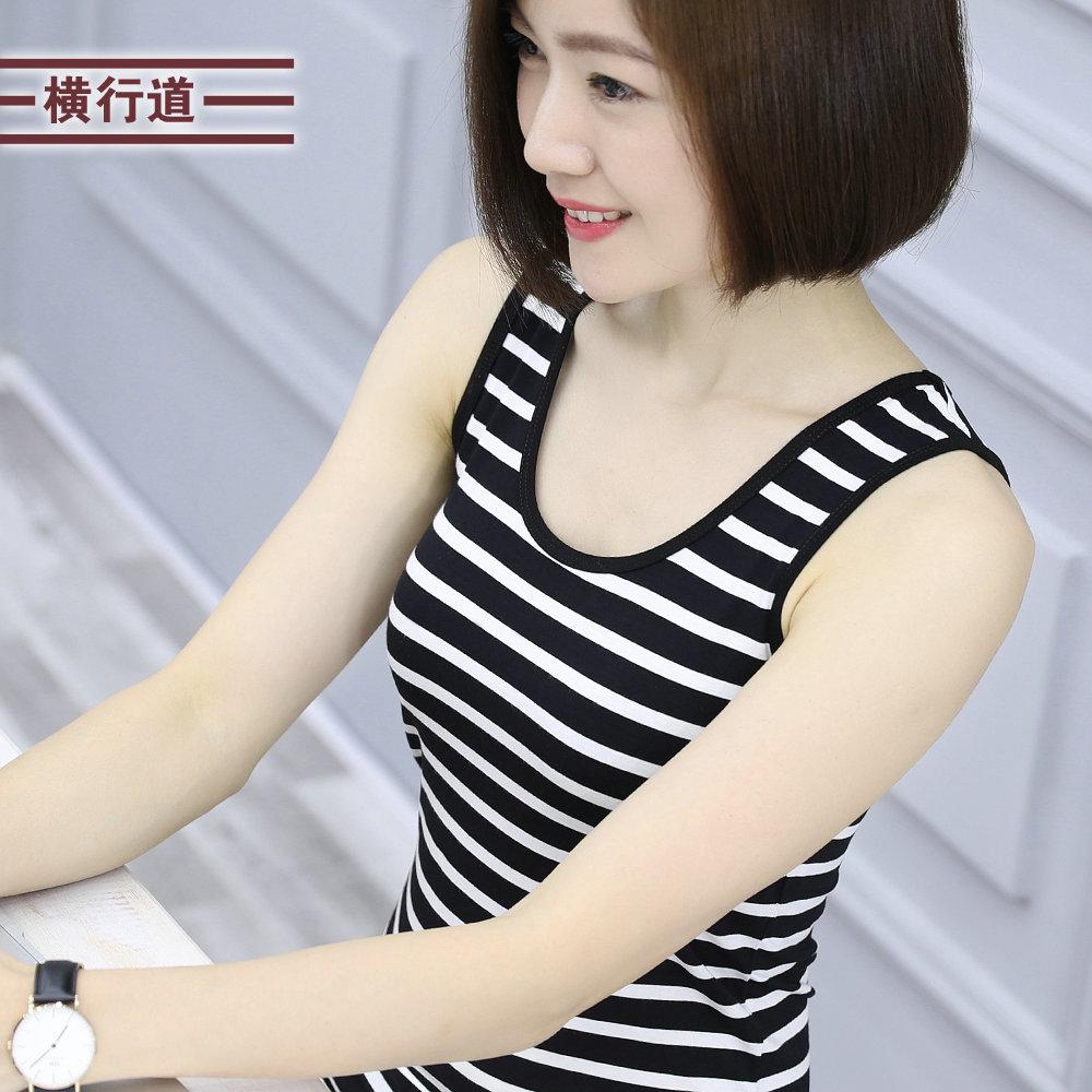 2021夏装上衣新款黑白条纹莫代尔短款吊带背心女式外穿无袖打底衫