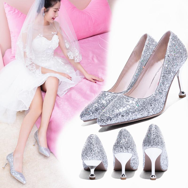 限10000张券婚纱女银色百搭尖头新娘公主水晶鞋