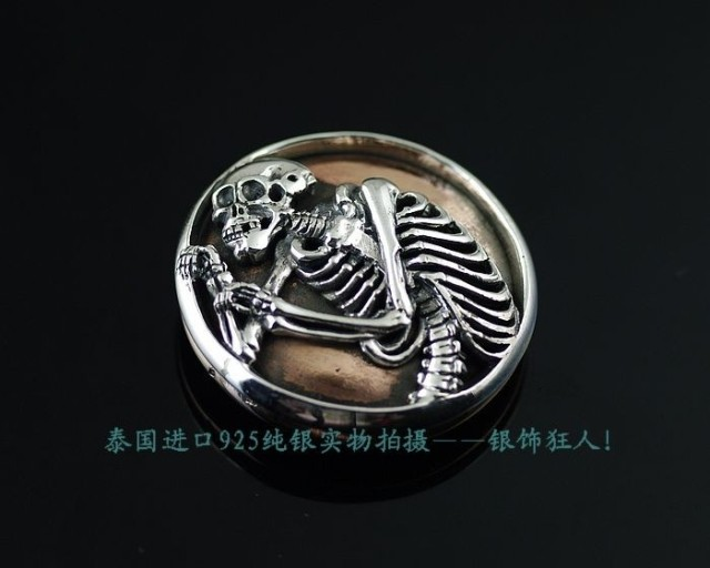 925 Sterling Silver Thai imported silver copper mixed with skeleton punk Thai silver wallet buckle wealth cloth button DIY accessories
