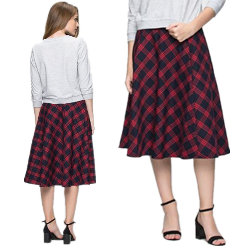 Womens 2021 spring and summer new casual versatile cotton medium length skirt spring new solid plaid skirt