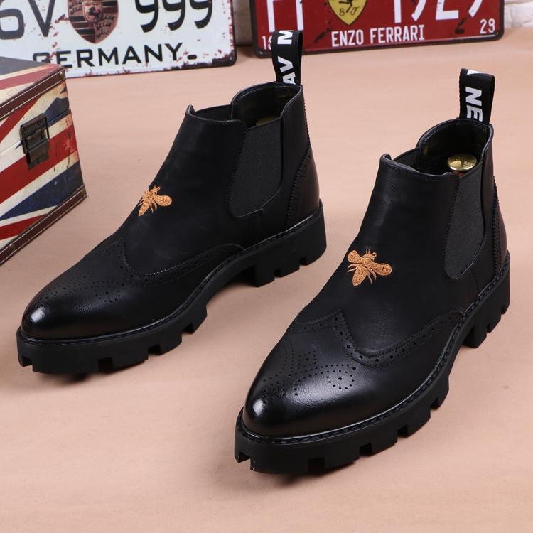 冬季男士皮靴子尖头马丁靴加绒英伦短靴厚底增高发型师高帮皮鞋潮