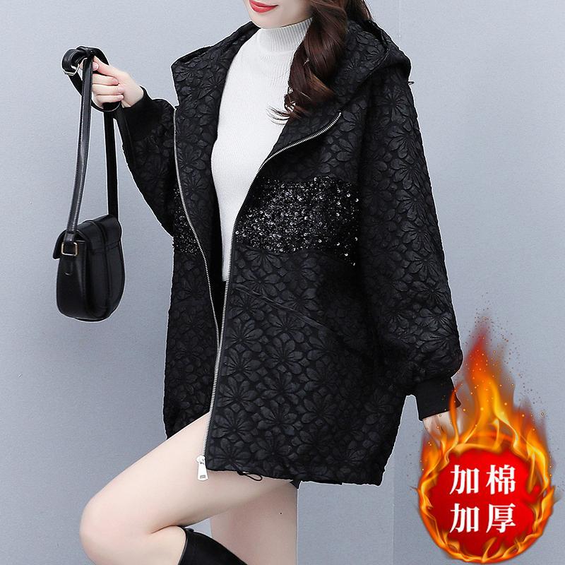 素木拼接連帽外套女秋季黑色寬松大碼女裝2021年新款時尚歐貨上衣