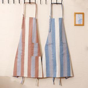 純棉布家用工作服成人無袖男女廚房防塵防油清潔做飯家居圍腰圍裙