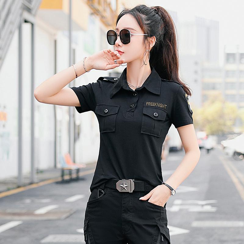 2021新款夏季迷彩短袖t恤女潮小众显瘦弹力宽松原宿风水兵舞服装
