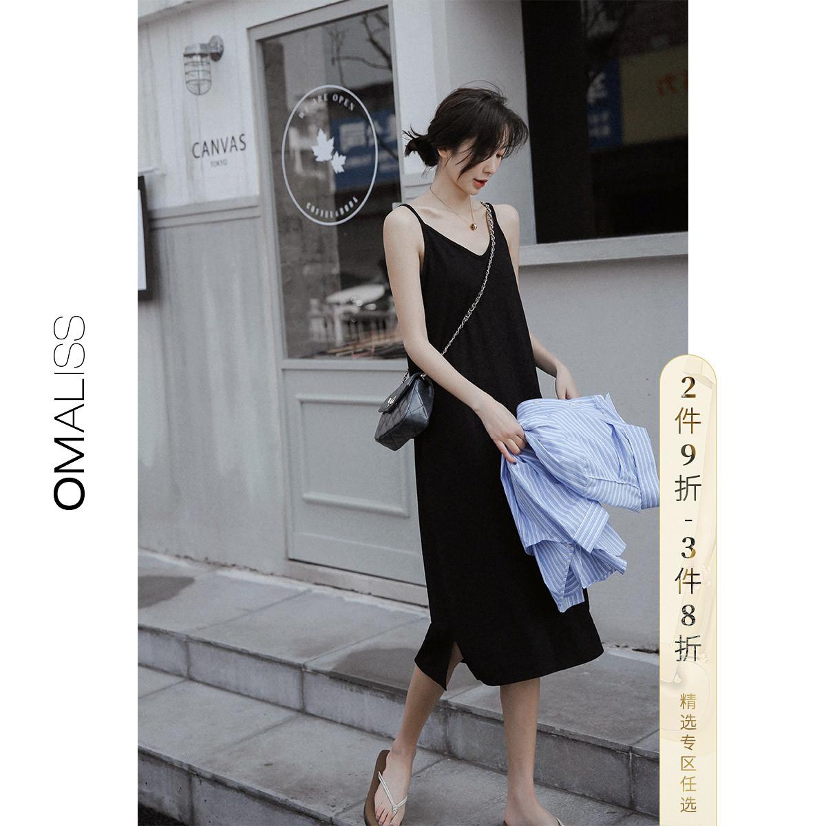 夏装2019女黑色裙子吊带裙V领打底裙内搭连衣裙中长款小黑裙过膝