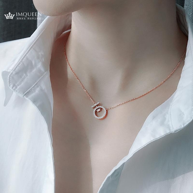 [Imqueen项链]钛钢18k彩金女神玫瑰金项链 女 锁月销量202件仅售158元