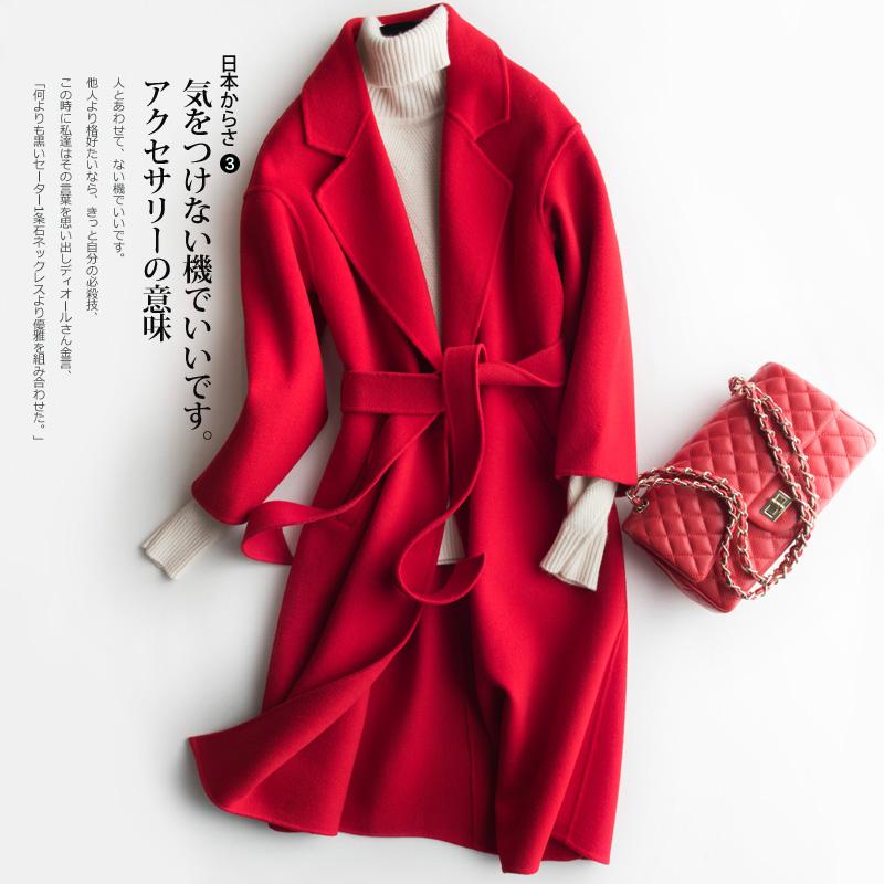双面呢羊绒大衣女中长款宽松2021秋冬新款过膝高端羊毛呢外套系带