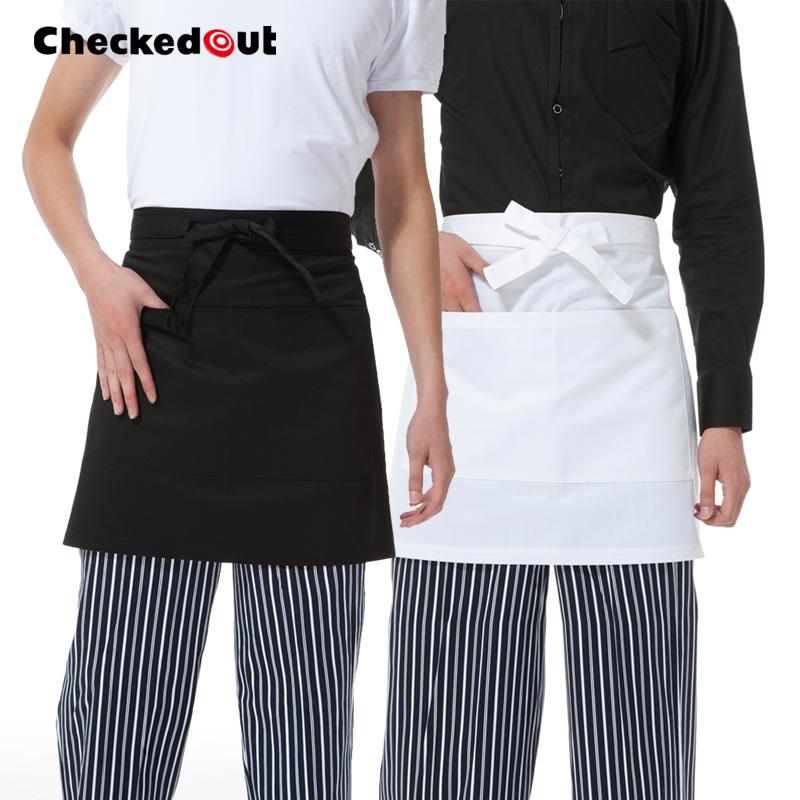 短款圍裙定製Checkedout黑白色咖啡店服務員圍裙廚師工作圍裙