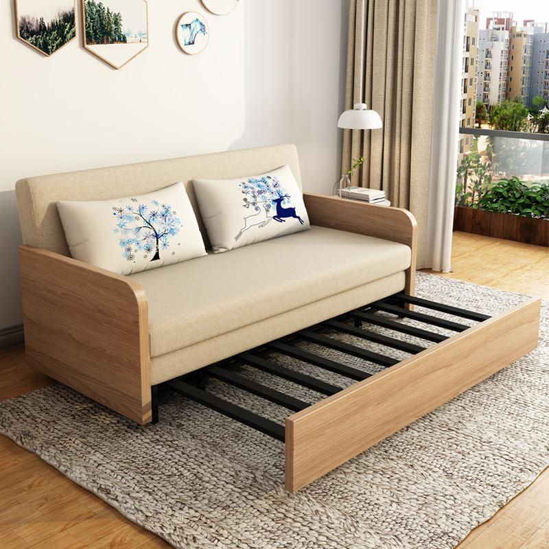 溢升 折叠沙发床双人1.8米白腊木1.2多功能小户型客厅实木两用