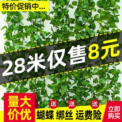 仿真植物藤条爬山虎葡萄叶绿树叶塑料假花水管道缠绕藤蔓吊顶装饰